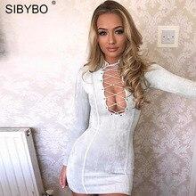 Sibybo Hollow Out Lace Up Sheath Mini Dress Long Sleeve Turt