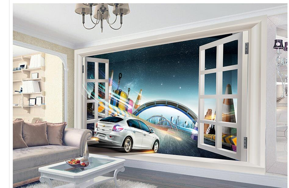 Home Decoration <font><b>3D</b></font> stereoscopic <font><b>car</b></font> city bridge customized <font><b>wallpaper</b></font> for walls photo wall murals <font><b>wallpaper</b></font> image