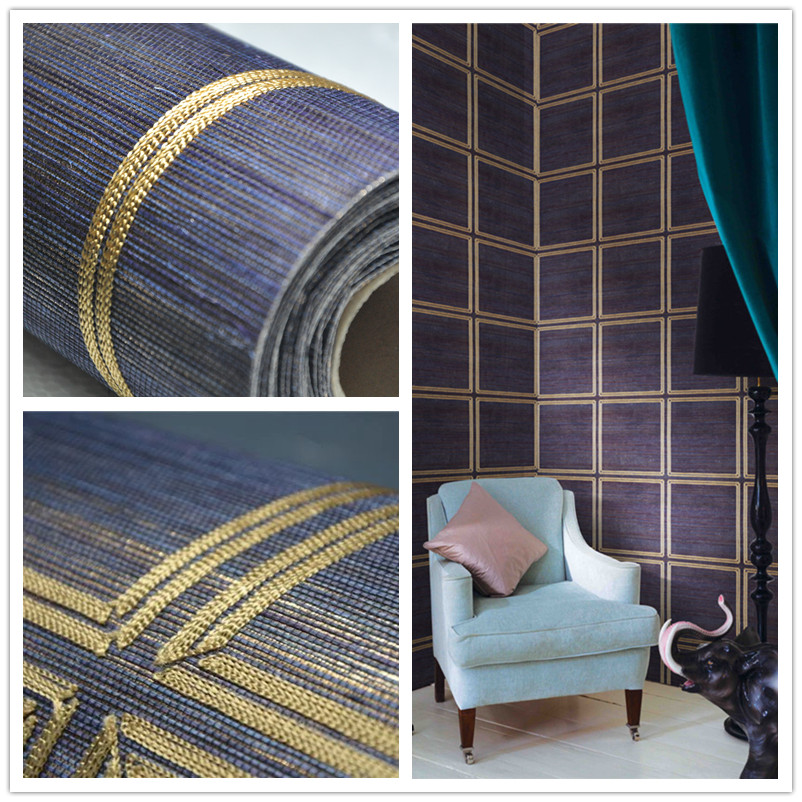 blue color dark golden metallic backing  sisal  wallpaper  for living room spa decorationblue color dark golden metallic backing  sisal  wallpaper  for living room spa decoration
