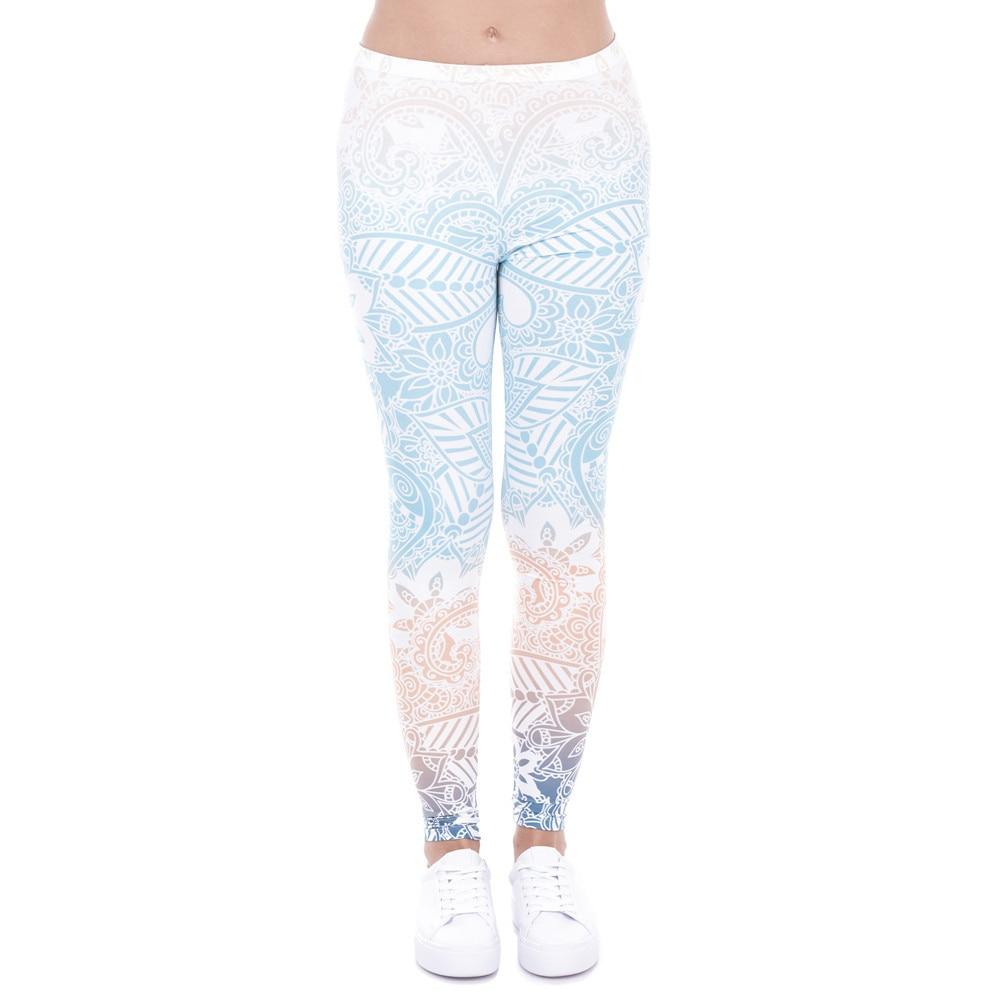 Brands Women Fashion Legging Aztec Round Ombre Printing leggins Slim High Waist  Leggings Woman Pants 28