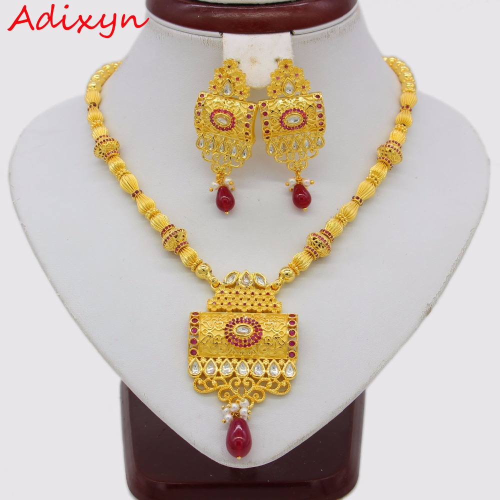 Adixyn Red Corundum Square Necklace/ Earrings Jewelry Set For Women Gold Color Cubic Zirconia Ethiopian Arabic India Items цена