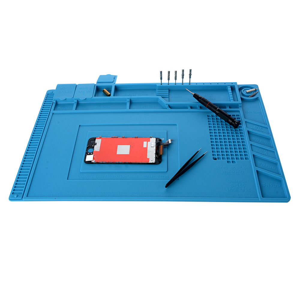 New Heat Insulation Silicone Pad Desk Mat Maintenance Platform With Magnetic Section For BGA Soldering Repair Station 45x30cm 28x20cmhigh quality bga heat insulation silicone soldering pad repair maintenance platform desk mat