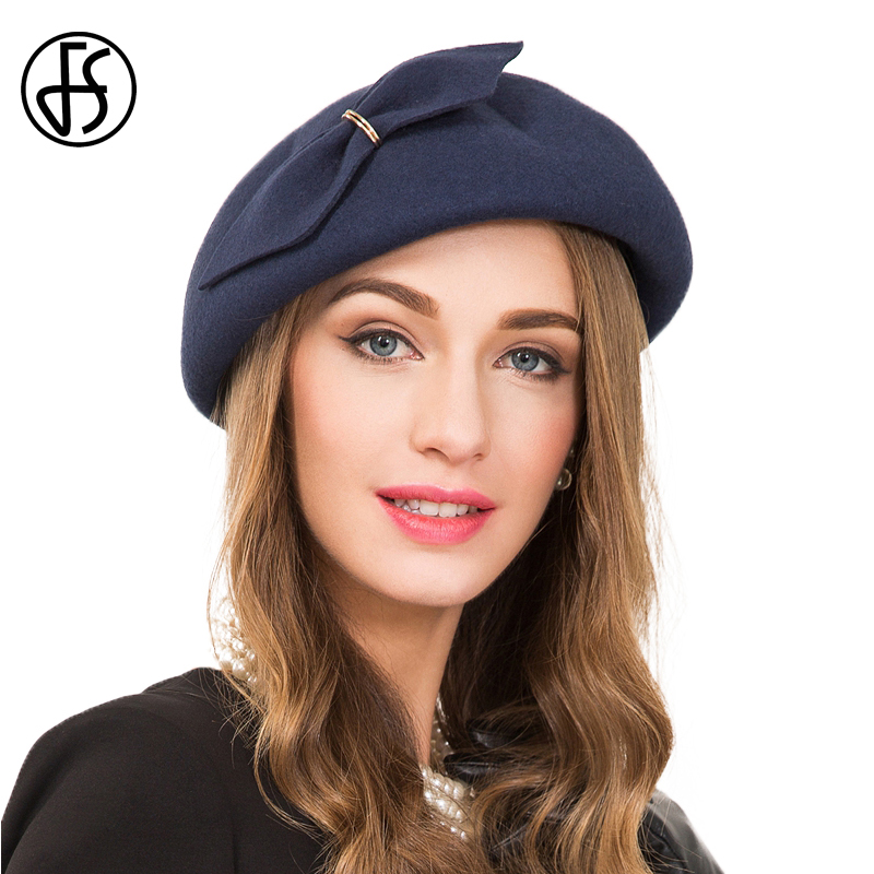 FS Vintage Womens Hat 100% Wool Felt Fedora Royal Navy Blue With Bowknot Lady Formal Beret Cocktail Hats Church Chapeau Femme