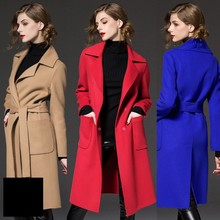 Fashion Coat Women Suit Collar Long Wool Blends Coat Woman Casual Autumn Winter 2017 Women Wool Outerwear With Waistband Belt