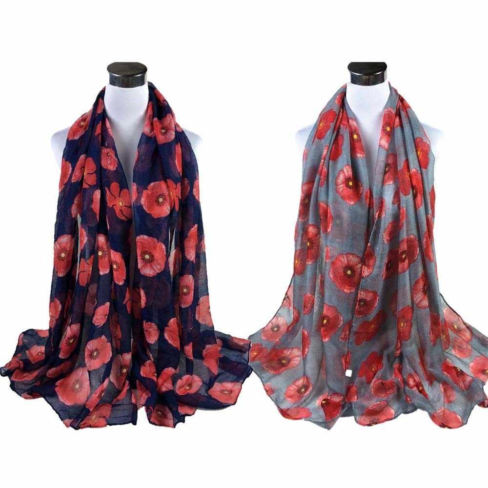 빨간 양귀비 인쇄 긴 스카프 꽃 비치 랩 숙녀 목도리 여성 스카프 foulard femme 판쵸 feminino inverno