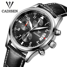 Cadisen Auto Date Watch Men Water Resistant Stainless Steel Men Watch Fashion Dress Business Design Leather Winner Quartz-Watch