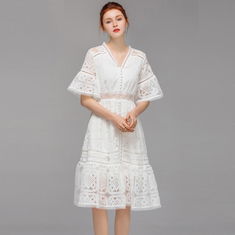VERDEJULIAY vestido blanco de lujo 2019 verano nuevas mujeres manga acampanada ahuecado cuello en V volantes bordado delgado vestido hasta la rodilla-in Vestidos from Ropa de mujer    3