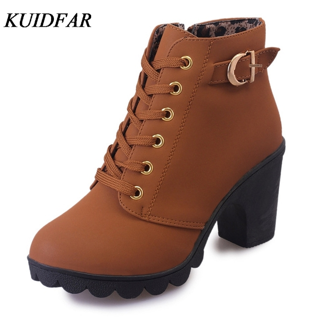 239f520cacd KUIDFAR 2018 Women Autumn Winter Women Boots High Quality Solid Lace-up  European Ladies shoes PU Leather Fashion Boots
