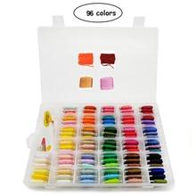 96pcs Embroidery Floss Cross Stitch Thread Kit with Threader Bobbins Sewing Needles Storage Box Starter
