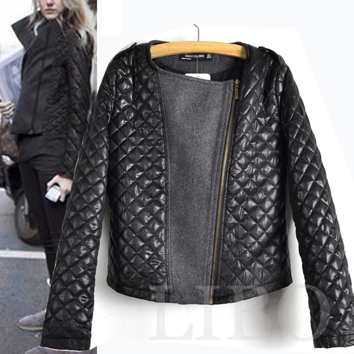 2019 New Fashion Women's Zipper Coat Slim Leather   Jacket   Black Padded   basic     jackets   Female