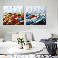 100%Handpainted Art Hand Painted City Landscape Oil Painting On Canvas Pop Modern Abstract Wall Picture For Decoration