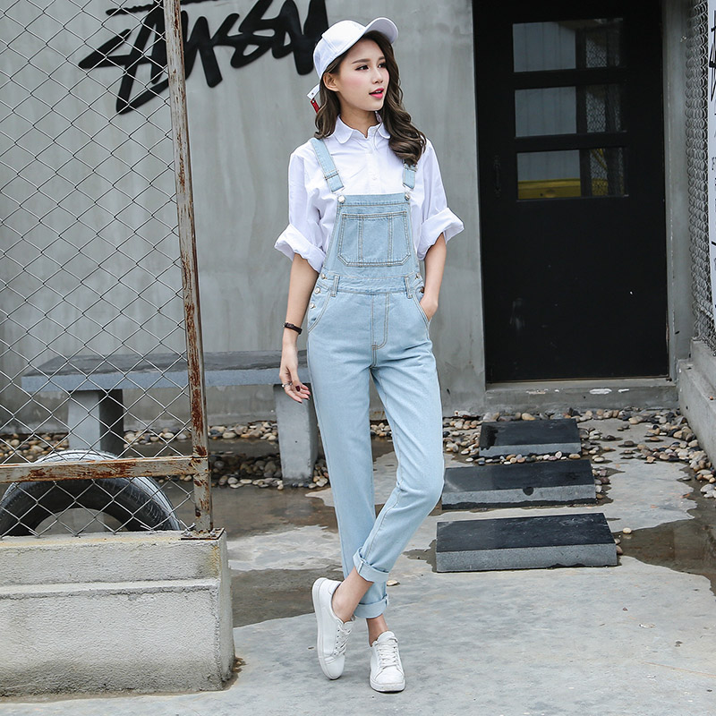 S-L Jeans Women Jumpsuit Denim Romper Overalls korean style Long Trousers Basic light blue Denim Pants Rompers womens (B1280) gown