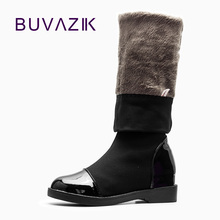 2017 new design slimming elastic cloth fashion Jackboot women over-the-Knee long boots autumn winter PU Modern dance shoes 41