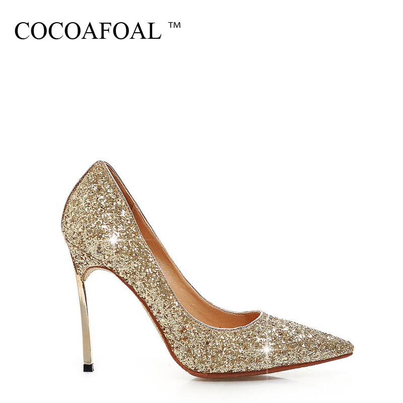 COCOAFOAL Woman Bling Pumps Plus Size 32 - 43 Fashion Sexy 10 CM High Heels Shoes Gold Silver Red Scarpe Sposa Wedding Pumps
