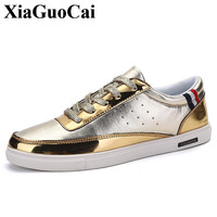 New Fashion Casual Shoes Men Lace Up Flat Single Shoes Gold Silver All Match Round Toe