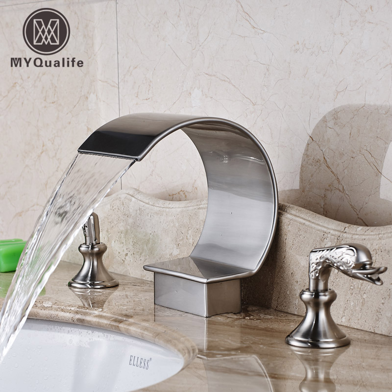 Brushed Nickel Widespread Bathroom Water Taps Deck Mounted Basin Sink Faucet with Dual Handle brushed nickel bathroom widespread 3 holes mixer faucet dual handle deck mounted water taps