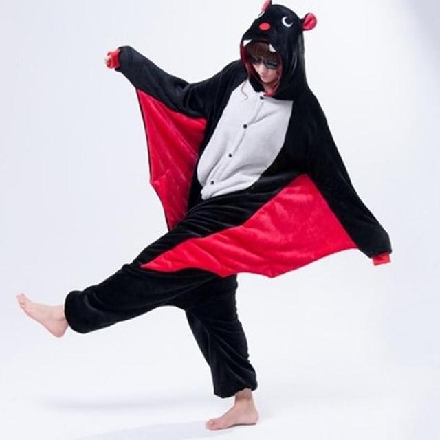 Bat Unisex Adulta Cosplay Pijamas Adultos Animal Lindo de la Historieta ropa de Dormir de Franela Con Capucha Para Hombres de Las Mujeres