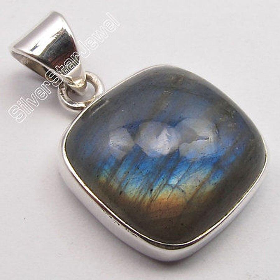 Muiltiple Choices Chanti International Solid Silver CUSHION BLUE FLASH LABRADORITE Stone BESTSELLER Pendant 2.5 CM