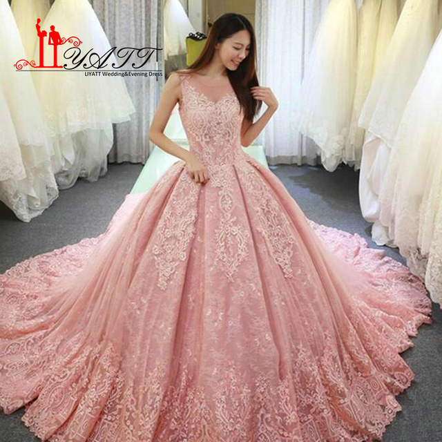 2018 New Pink Wedding Dresses Elegant Sheer V Neck Sleeveless Lace ...