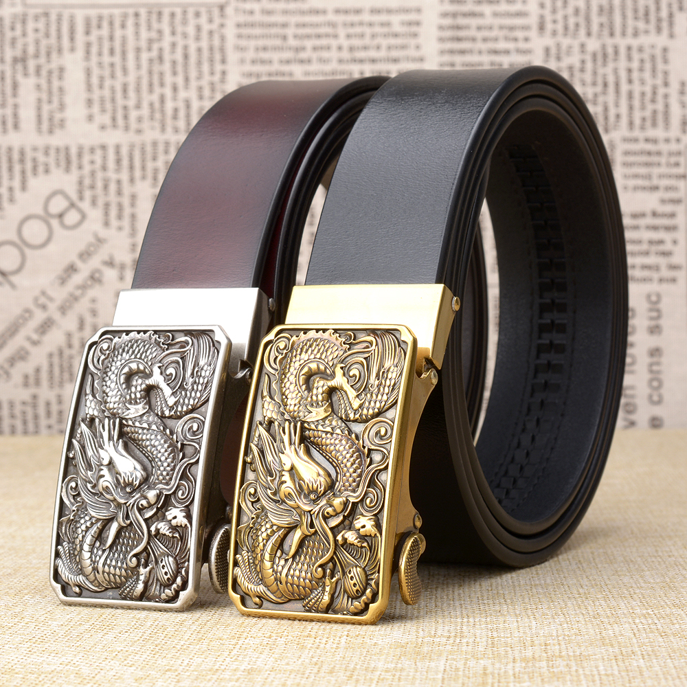 Genuine Leather   belts   for men vintage dragon design automatic buckle leather Strap male Jeans cowboy waistbands High quality