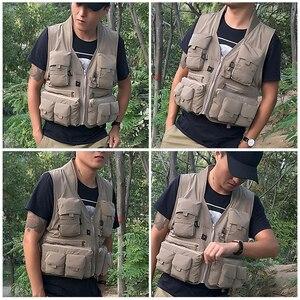Image 5 - 야외 낚시 양복 조끼 민소매 메쉬 남자 낚시 자켓 멀티 포켓 조끼 사진 낚시 사냥 등산