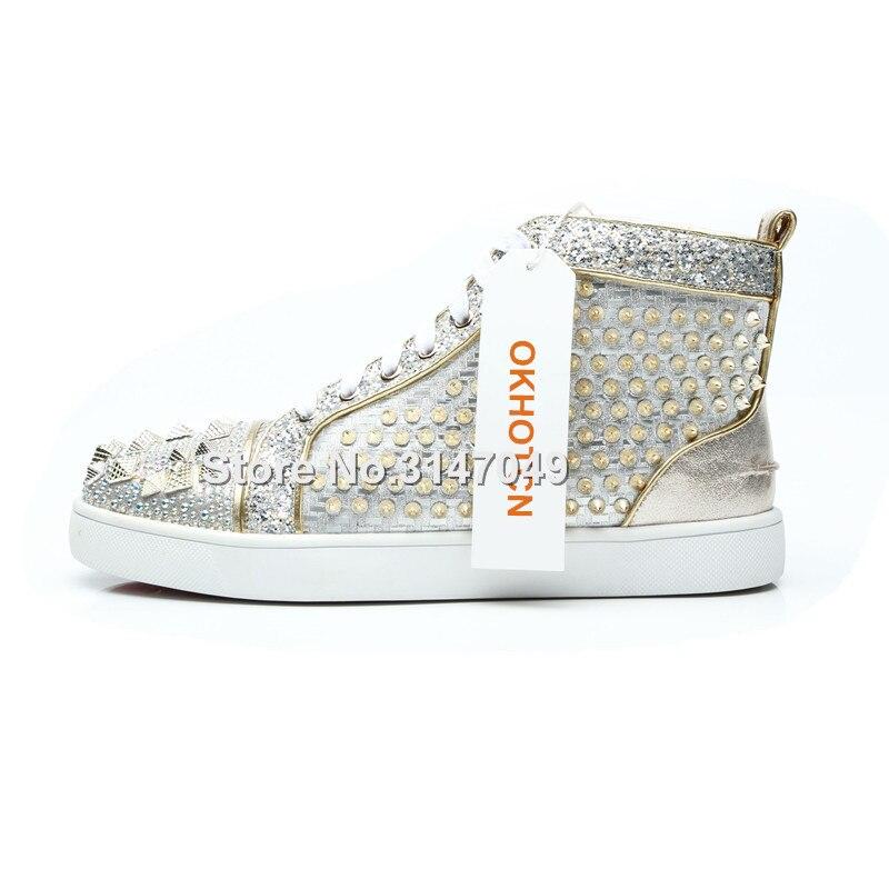Chaussures de luxe Hommes Argent Strass Baskets Pour Hommes Bling Rivets Mocassin Hommes Chaussures à lacets décontracté Cristal Hommes Chaussures À Semelle Plate - 3