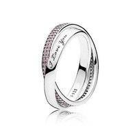Top Quality 925 Sterling Silver Ring Sweet Promise Ti Amo con Rosa Anello Di Cristallo Per Le Donne Regalo di Nozze Belle Gioielli Pandora