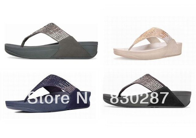 wholesla fashion flip flops flare thong sandals wedges brand summer women  slides flat diamond rhinestones black