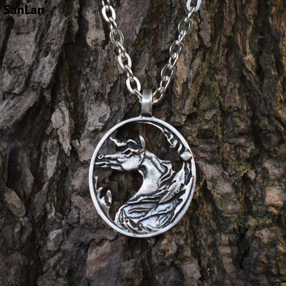 SanLan Horse Necklace Horse Jewelry Equestrian Pewter Horse on Silver Chain Christmas Gift