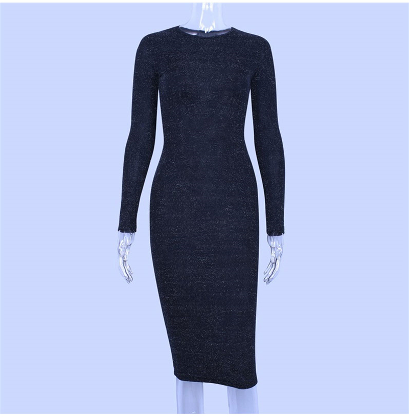 Shining Long Sleeve Midi Dress 6