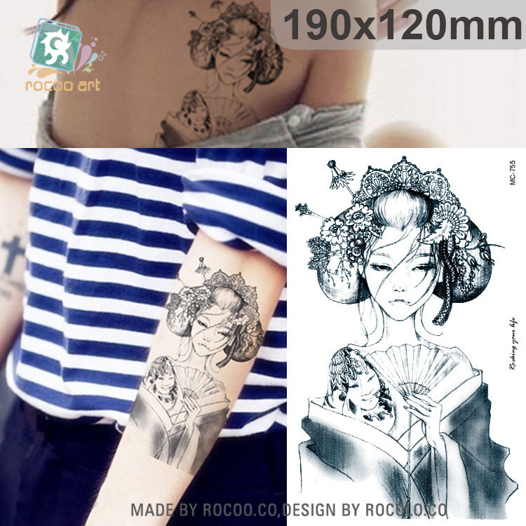 individuality waterproof temporary tattoos for men and women Wolf roar design large arm tattoo sticker Free Shipping SC2908 4