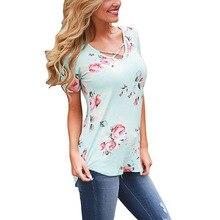 Cssayavi Women Basic T Shirt 2017 Summer Short Sleeve V-Neck Cotton Tees Tops Female floral print Casual T-Shirts