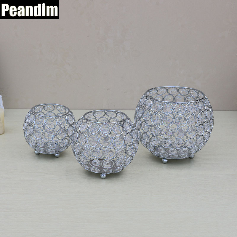 PEANDIM Votive Candle Holders Silver K9 Crystal Candlestick Wedding Table Centerpieces Home Decor Office Ball Pencil Contanier ...