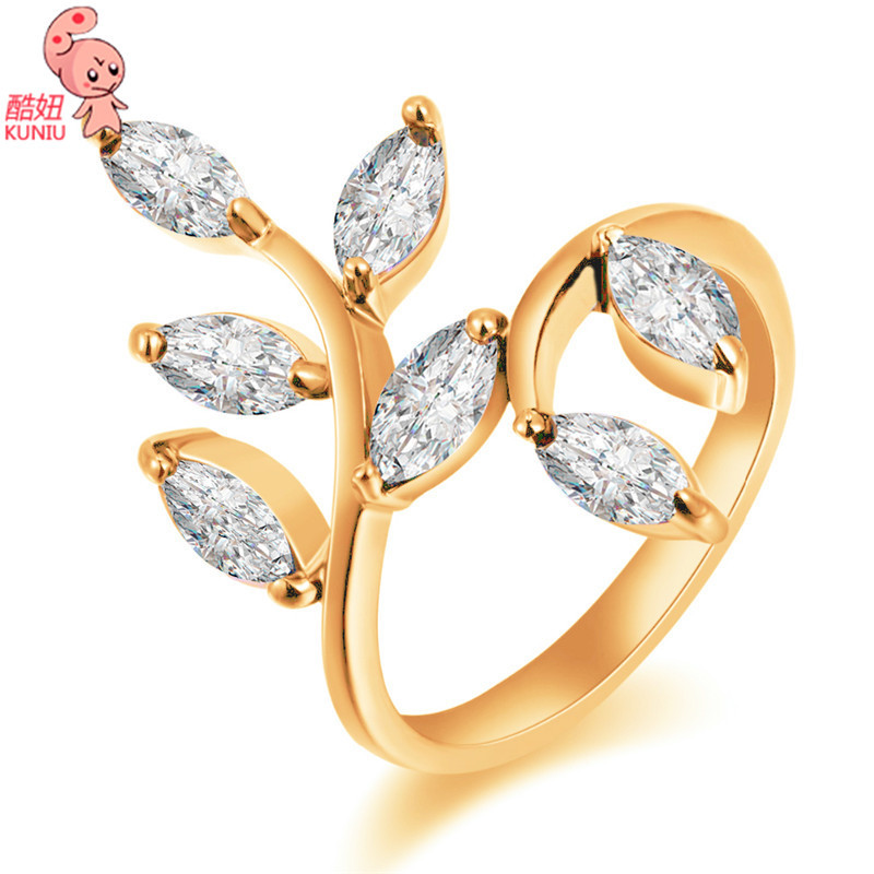 Beautiful Olive Branch Design Zircon Rings Leaf Pattern Gold ...