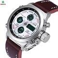 North deporte de los hombres reloj de cuero analógico cronógrafo reloj para hombre relojes de primeras marcas de lujo de los hombres del ejército militar de pulsera de doble pantalla