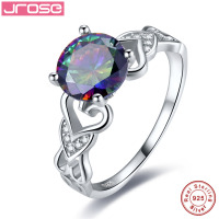 Jrose Round 2 95ct Rainbow Fire Mystic Topaz Solitaire Ring Genuine 925 Sterling Silver Fine Jewelry