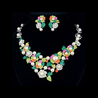 Crystals Rhinestone Multicolor Flower Wedding Bridal Necklace Earring Jewelry Set 5196 Clearance Sale