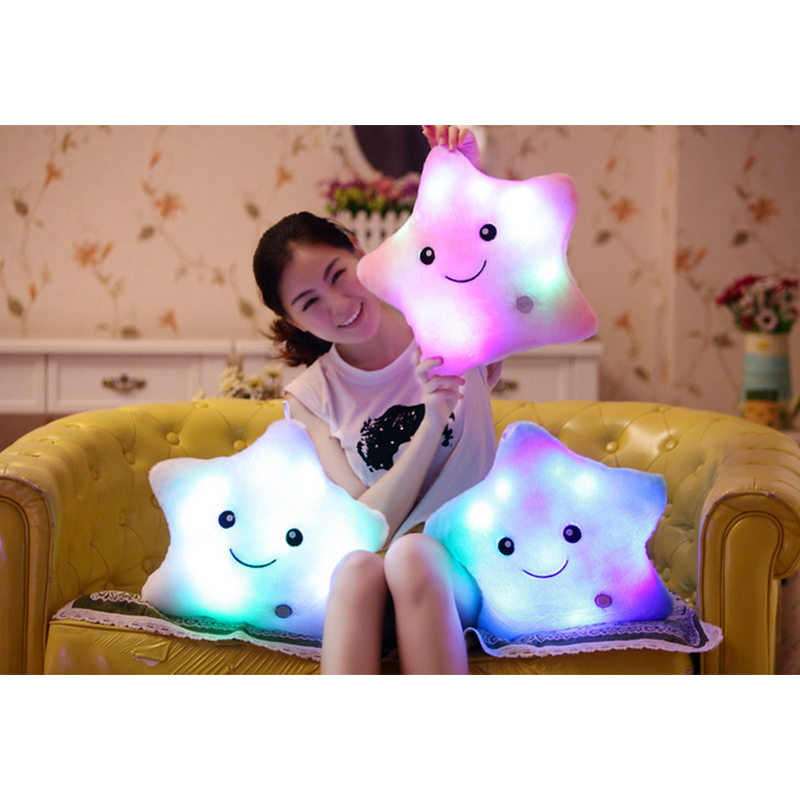 40x35cm Luminous pillow Christmas Toys, Led Light Pillow,plush Pillow, Colorful Stars Pentagram,kids Toys, Birthday Gift high quality colorful change bear luminous pillow soft plush pillow led light pillow kids toys