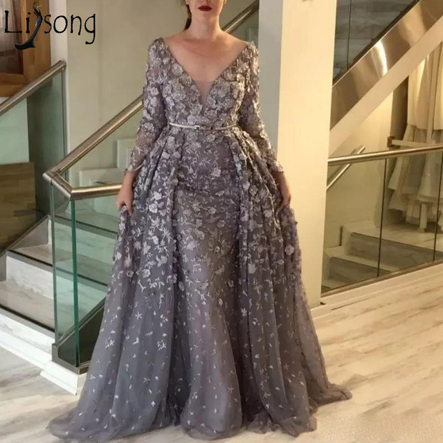 0f63f357d3d Top Quality Grey Long Prom Dresses Overskirts Lace Tulle 3D Applique Formal  Wear 2019 V-neck Long Sleeves Modest Evening Dress