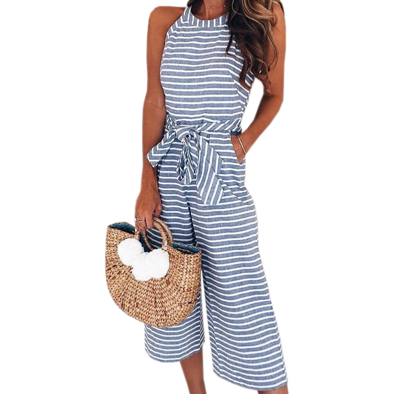 Sleeveless Striped Women Jumpsuits Sexy Summer Femme O-neck Sashes Pockets Wide leg Pants Playsuit Bowknot Romper Overalls GV225