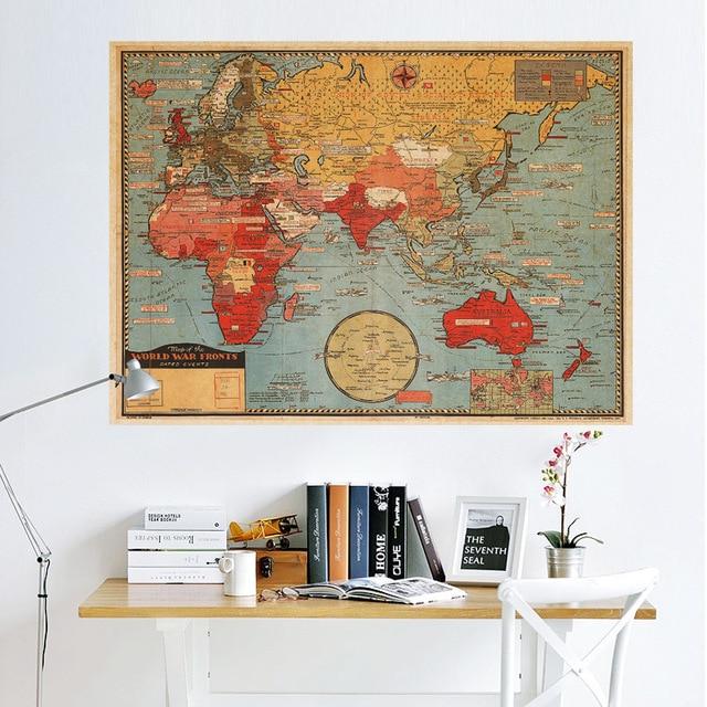 Grande world Geography mappa adesivi murali originale arte creativa ...