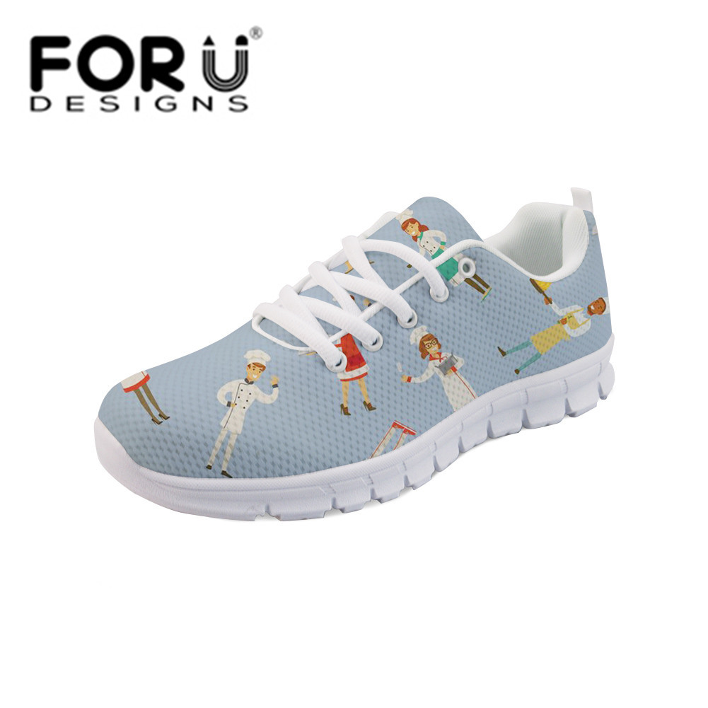FORUDESIGNS Kawaii Nurse Sneakers Shoes Flat Shoes High Quality Woman Lace-up Flats Breathable Zapatos Mujer Casual Mesh Shoe forudesigns casual women flats shoes woman fashion graffiti design autumn lace up flat shoe for teenage girls zapatos mujer 2017