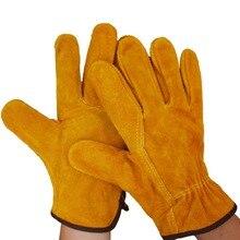 Рабочие перчатки 1 пар/уп. огнеупорные коровья кожа сварщику перчатки анти-тепло перчатки для безопасности работы для наплавной Металл защитные перчатки