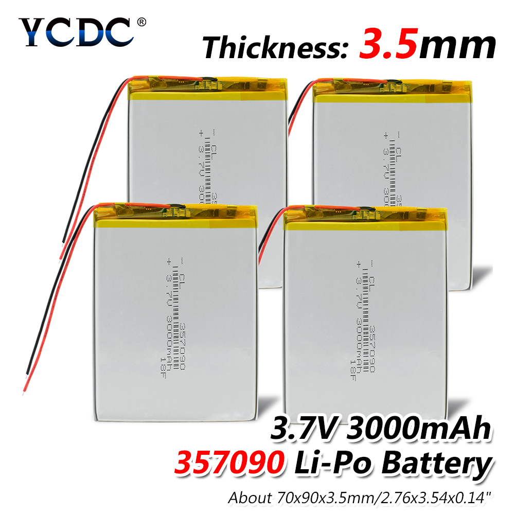 1/2/4 Pcs 3.7V 357090 Lithium Battery 3000mAh Li-po Lipolymer Rechargeable Batteries Cells For Mp5 Dvd Gps Camera Tablet E-book 3 7v 6000mah 40140100 lithium polymer li po rechargeable battery cells for gps psp dvd power bank pad diy e book tablet pc