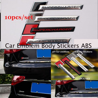 Fit All Car accessories 10pcs/lot Car Emblem body Decals For Supercharged logo badge Auto Stickers ABS decoration Label
