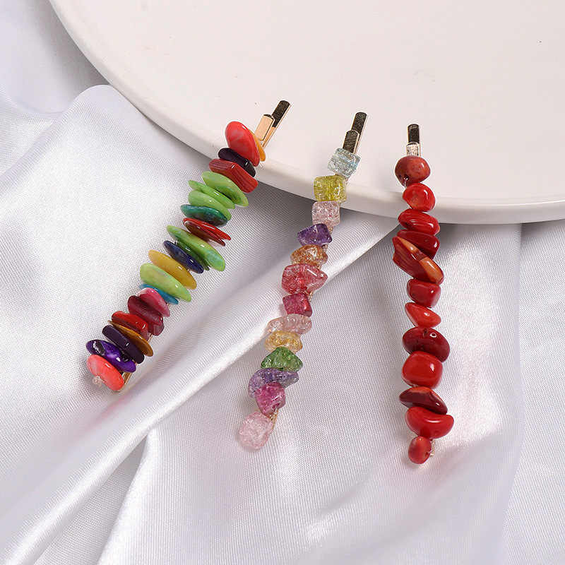 1PC Colorful Stone Hairpins Handmade Braided Irregular Resin Beads Hair Clips Hair Accessories for Women Girls
