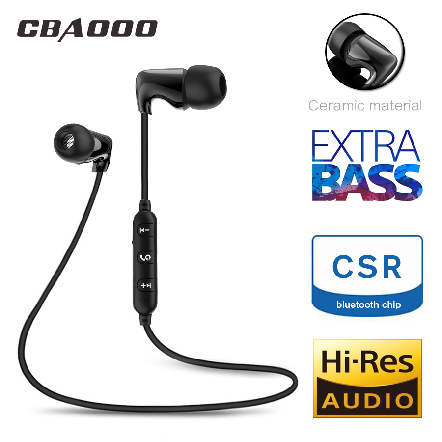CBAOOO TC Ceramic Sport Bluetooth Earphone Wireless Headphone Stereo Waterproof Hi-Fi Stereo Bass Music Headset with Microphone