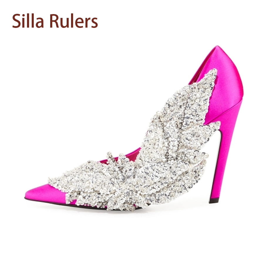 Silla Rulers luxury silk crystal flower women pumps rhinestones bling shoes sexy pointed toe stilettos high heels wedding shoes luxury bling bling crystal pointed toe pumps silver blade heels women party dress shoes sexy slip on wedding bride shoes 2018