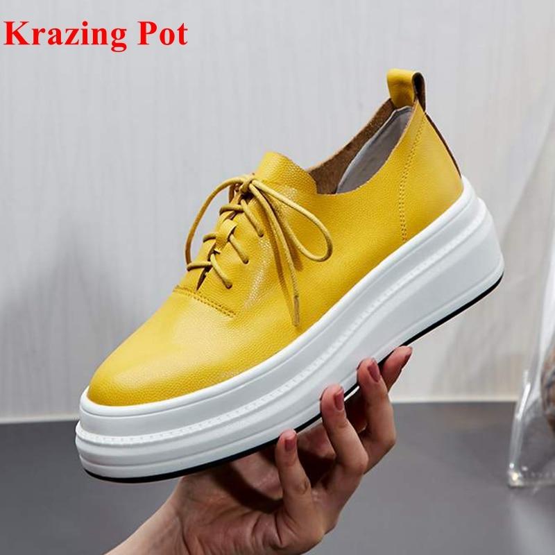 2019 nuevas zapatillas de plataforma planas de cuero genuino de maceta vintage con cordones de punta redonda zapatos de conducción casuales zapatos vulcanizados L6f3-in Zapatos vulcanizados de mujer from zapatos    1
