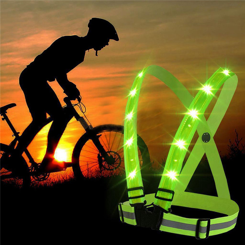 Vest Reflective Running Safety Night Belt Security Visibility Cycling LED  Jacket 9b6f993d3